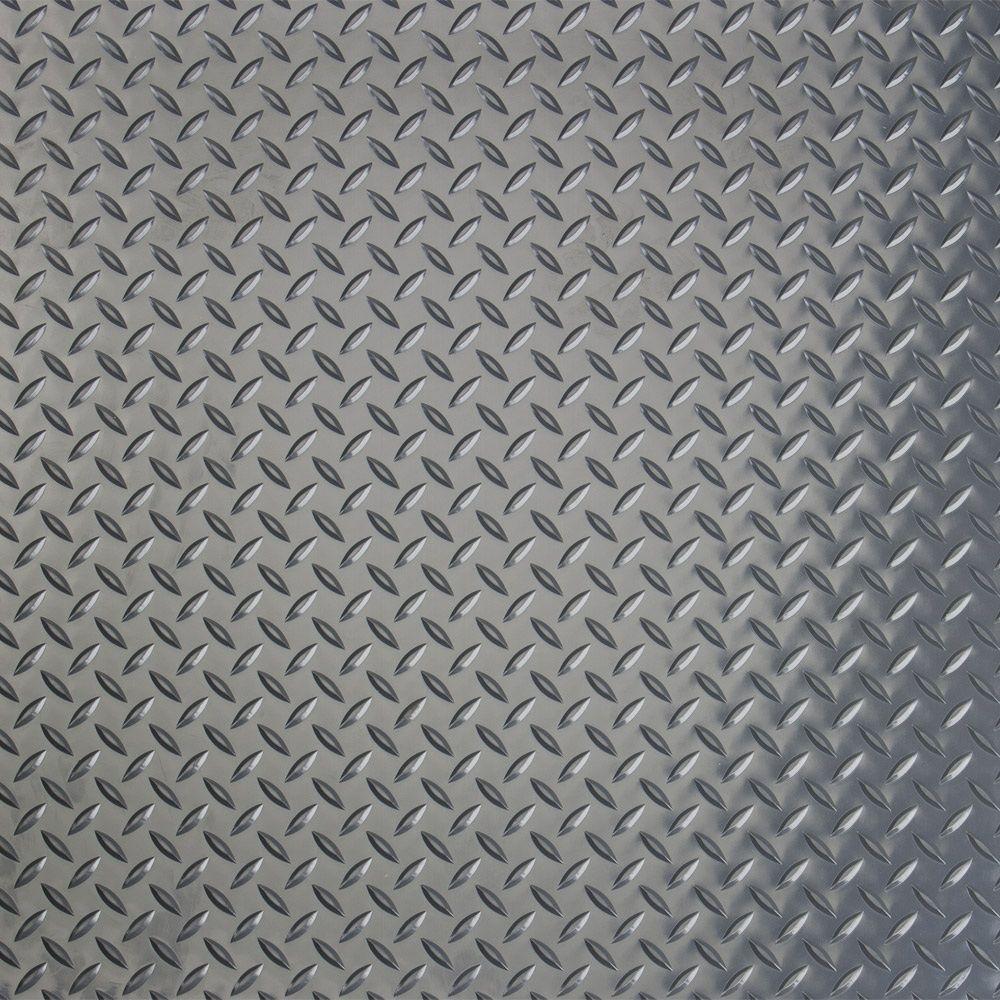 GFloor RaceDay Diamond Tread Slate Grey In X In Peel And - Polyvinyl garage floor covering