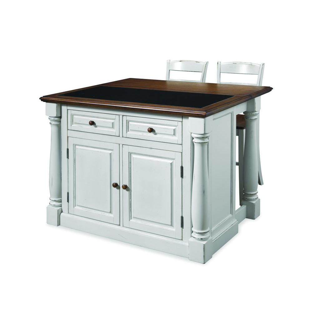 Homestyles Monarch White Kitchen Island With Seating 5021 948 The Home Depot