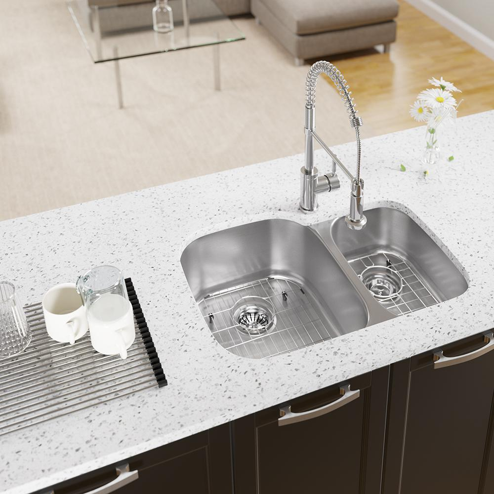 MR Direct All-in-One Undermount Stainless Steel 29-3/8 in. 60/40 Double  Bowl Kitchen Sink