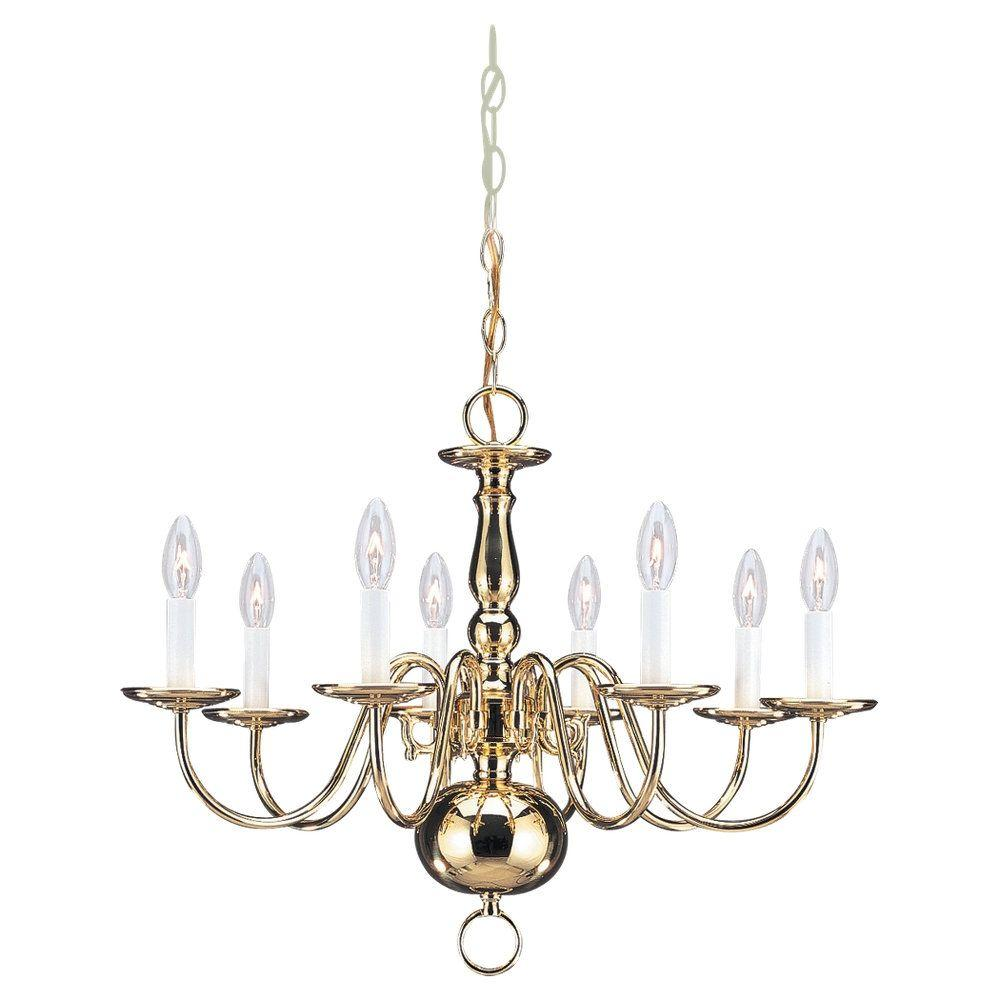 Sea Gull Lighting Traditional 8-Light Polished Brass Single Tier Chandelier
