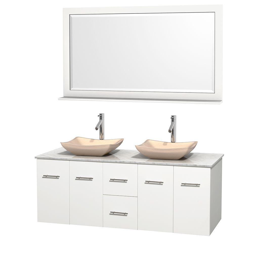 Wyndham Collection Centra 60 in. Double Vanity in White with Marble Vanity Top in Carrara White, Ivory Marble Sinks and 58 in. Mirror