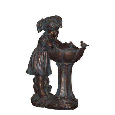25.5 in. Weathered Copper Girl Water Fountain