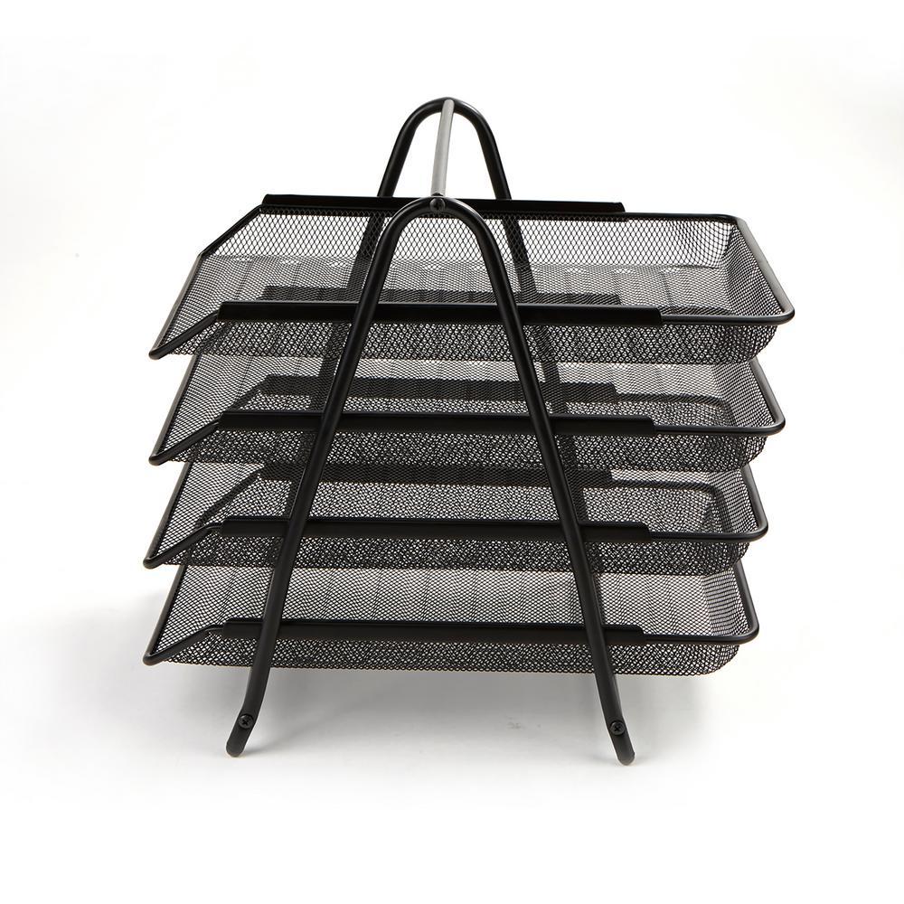 4-Tier Steel Mesh Paper Tray Desk Organizer, Black