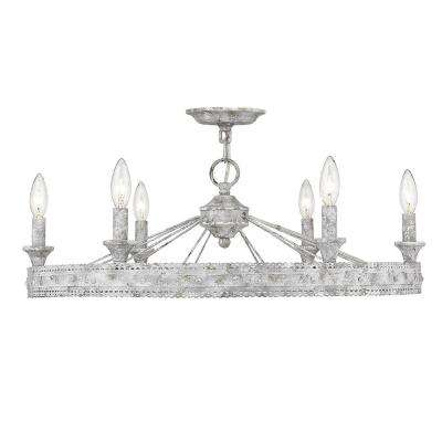 Ferris Collection 6-Light Oyster Semi-Flush Mount