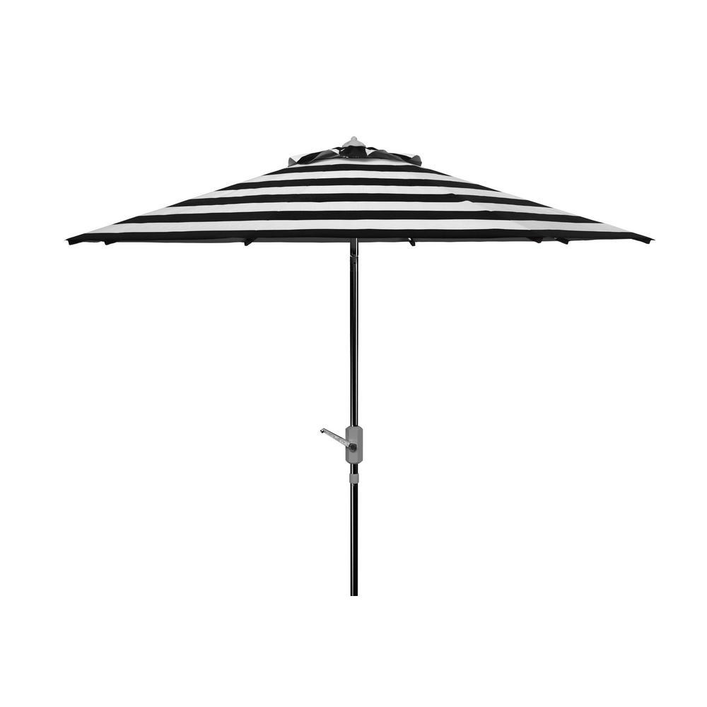 Iris 9 ft. Aluminum Market Tilt Patio Umbrella in Black/White