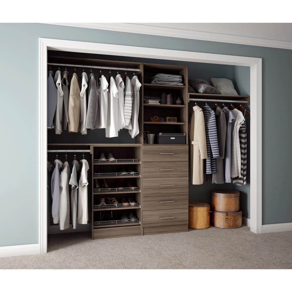 Assembled Reach-In 15 in. D x 120 in. W x 84 in. H Calabria in a Platinum Melamine 11-Shelves Closet System
