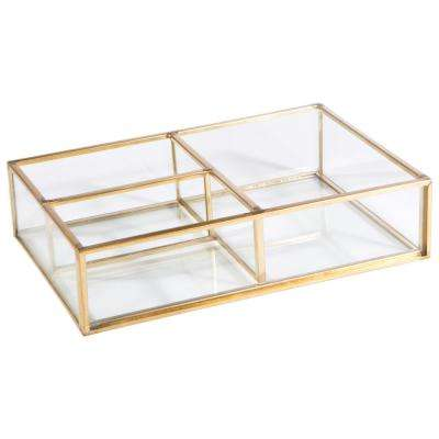 Vintage 3-Compartment Gold Glass Keepsake Tray