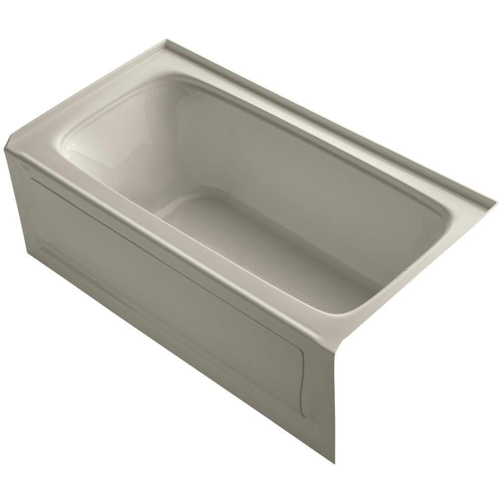 Bancroft 5 ft. Right Drain Soaking Tub in Sandbar with Bask Heated Surface
