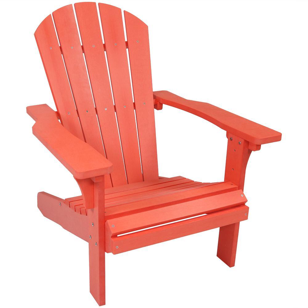 All-Weather Salmon Patio Plastic Adirondack Chair