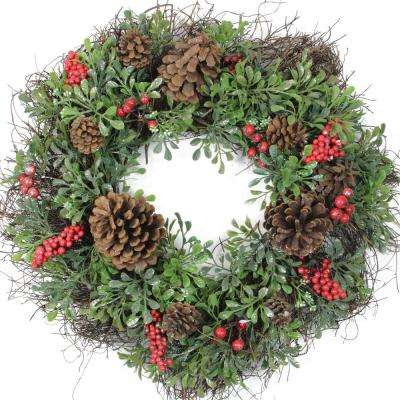 24 in. Unlit Glittered Artificial Boxwood Pine Cone and Red Berry Christmas Wreath