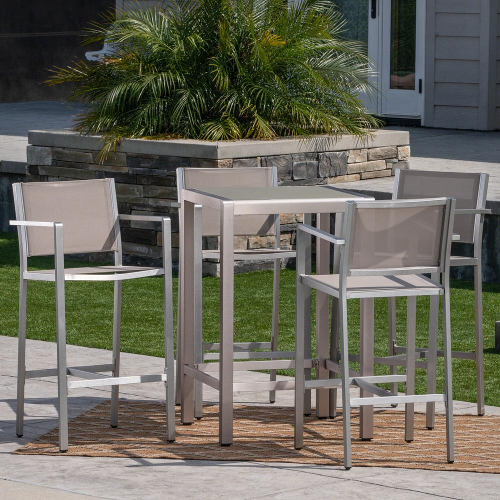 Noble House Cape Coral Silver 5 Piece Aluminum Outdoor Bar