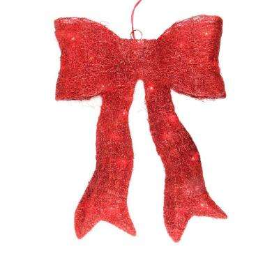 18.5 in. Lighted Sparkling Red Sisal Bow Christmas Outdoor Decoration