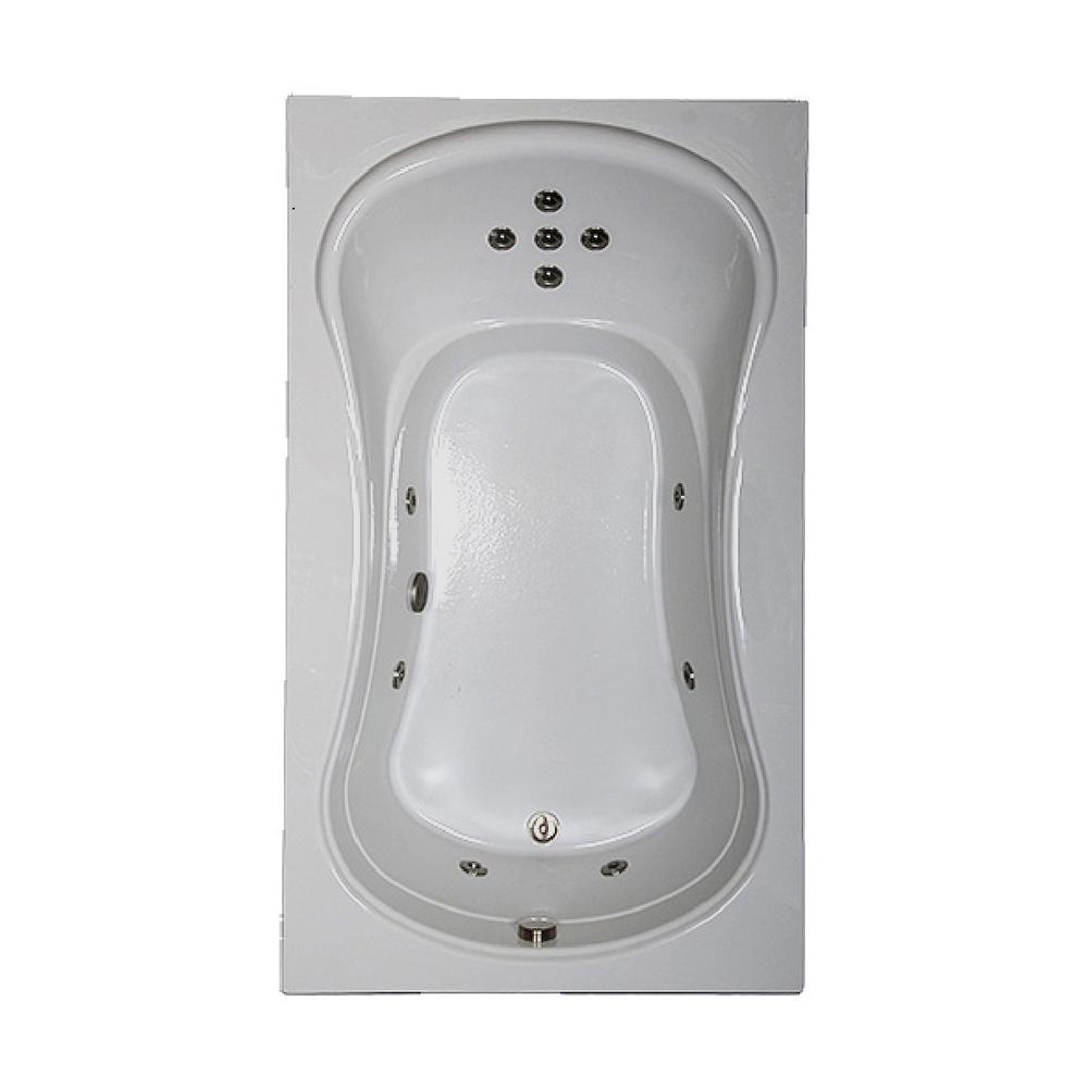 72 in. Rectangular Drop-in Whirlpool Bathtub in Sterling Silver
