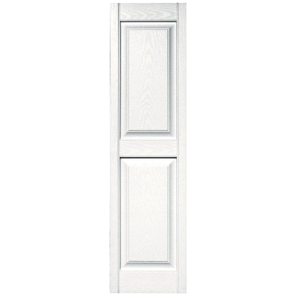 Builders Edge 15 in. x 55 in. Raised Panel Vinyl Exterior Shutters Pair in #117 Bright White