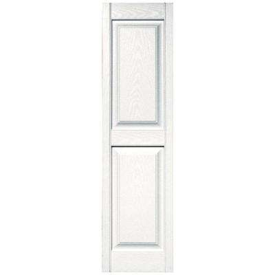 15 in. x 55 in. Raised Panel Vinyl Exterior Shutters Pair in #117 Bright White