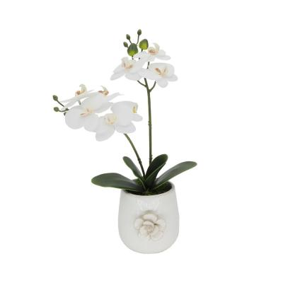 15 in. Real-touch Faux Orchid in 3D Flower Cermaic Vase
