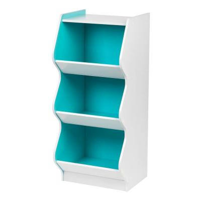 White and Blue 3-Tier Curved Edge Storage Shelf