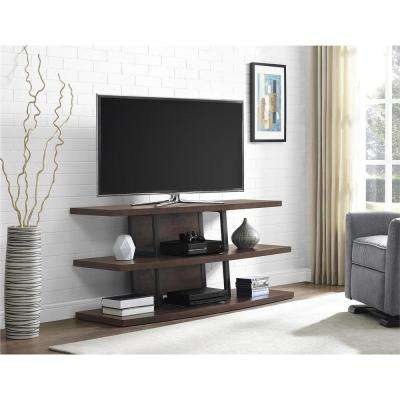 70 in. Espresso and Black Castling TV Stand