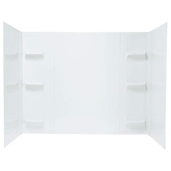 Durawall 42 in. x 72 in. x 58 in. 5-Piece Easy Up Adhesive Bath Tub Surround in White