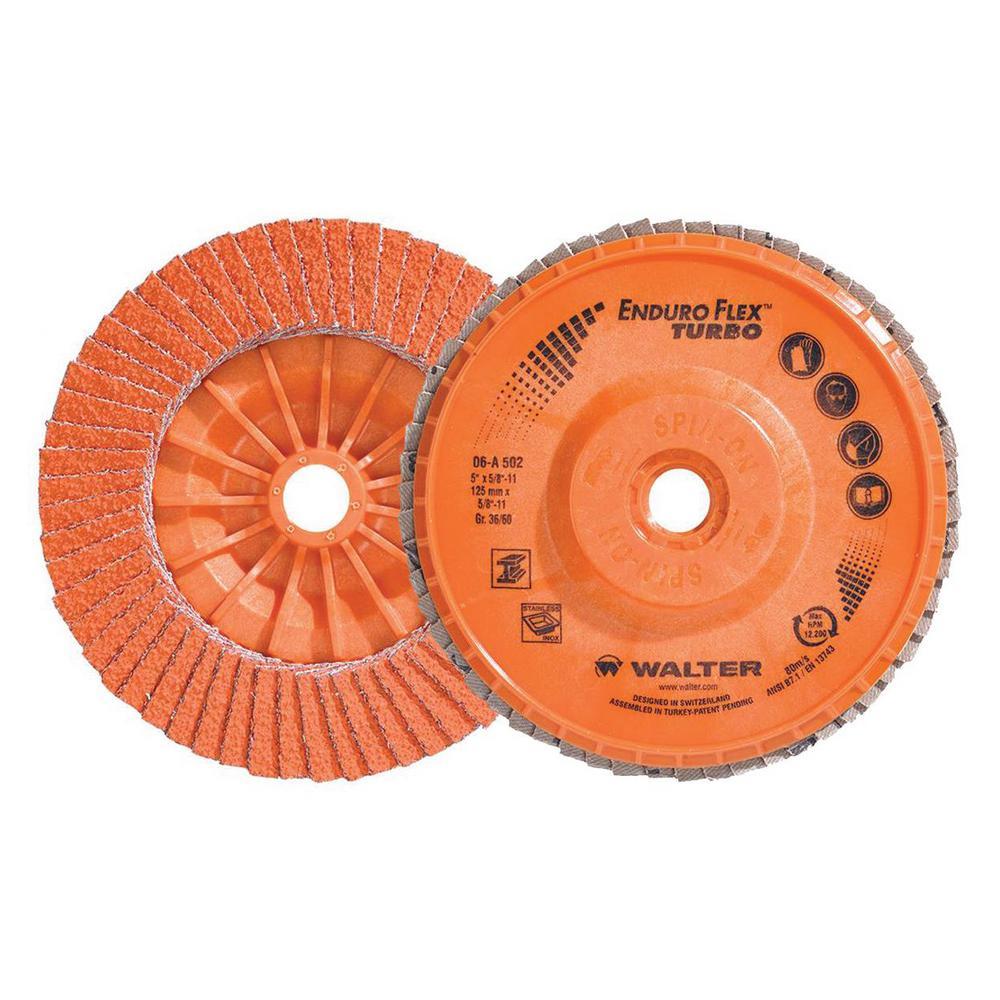 ENDURO-FLEX Turbo 5 in. x 5/8-11 in. Arbor GR36/60 Blending Flap Disc (10-Pack)