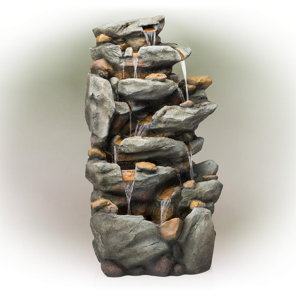 """Alpine Corporation Alpine Corporation 50"""" Tall Outdoor 8-Tier Rock Waterfall Fountain with LED Lights, Grey"""