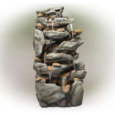 "Alpine Corporation 50"" Tall Outdoor 8-Tier Rock Waterfall Fountain with LED Lights, Grey"