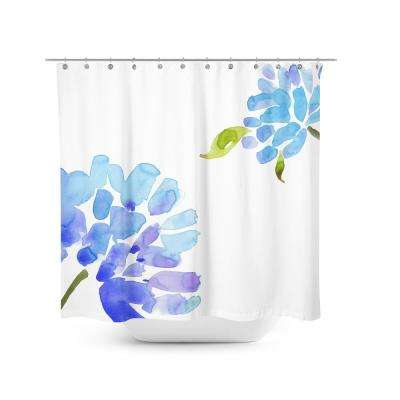 Blue Flower 72 in. Shower Curtain