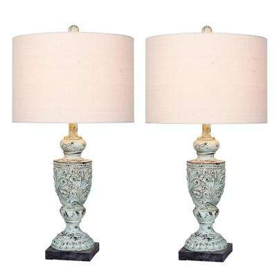 26.5 in. Antique Blue Decorative Urn Resin Table Lamp (2-Pack)