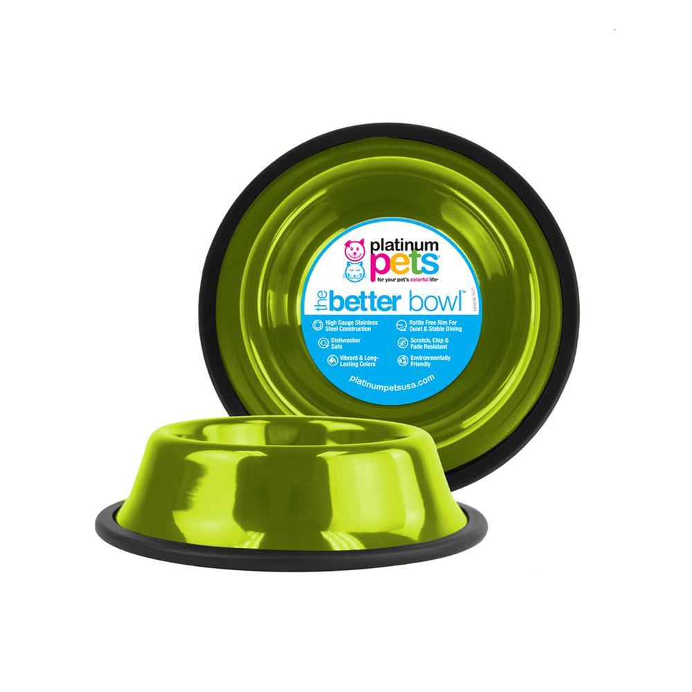 Platinum Pets 3.5 Cup Non-Tip Stainless Steel Dog Bowl, Corona Lime