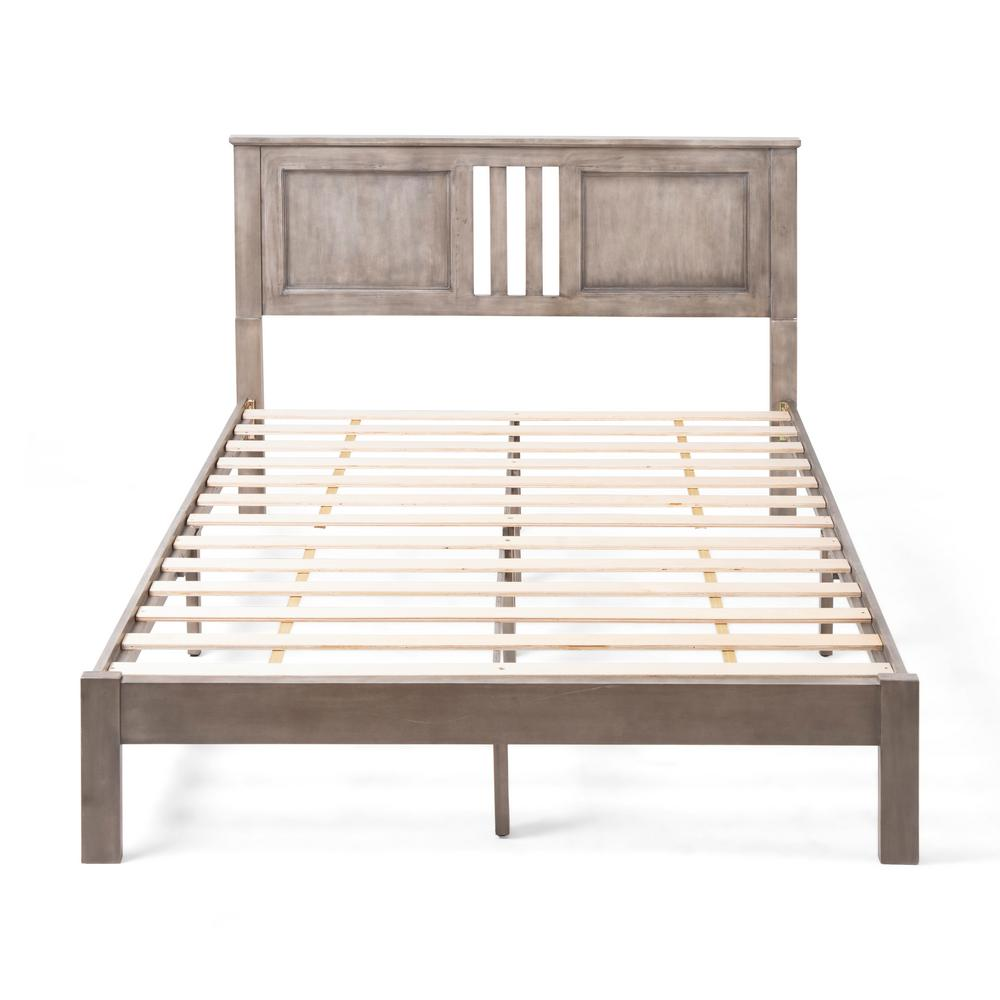 Norland  Grey Wood Queen Bed Frame