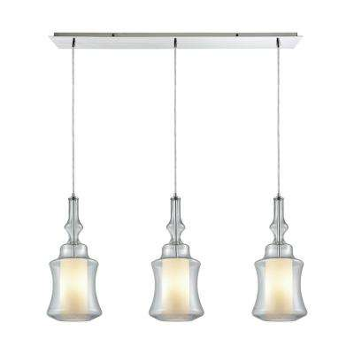 Alora 3-Light Linear Pan in Polished Chrome with Opal White Glass Inside Clear Glass Pendant