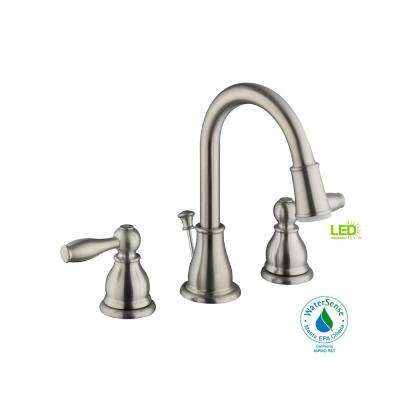 Mandouri 8 in. Widespread 2-Handle LED Bathroom Faucet in Brushed Nickel