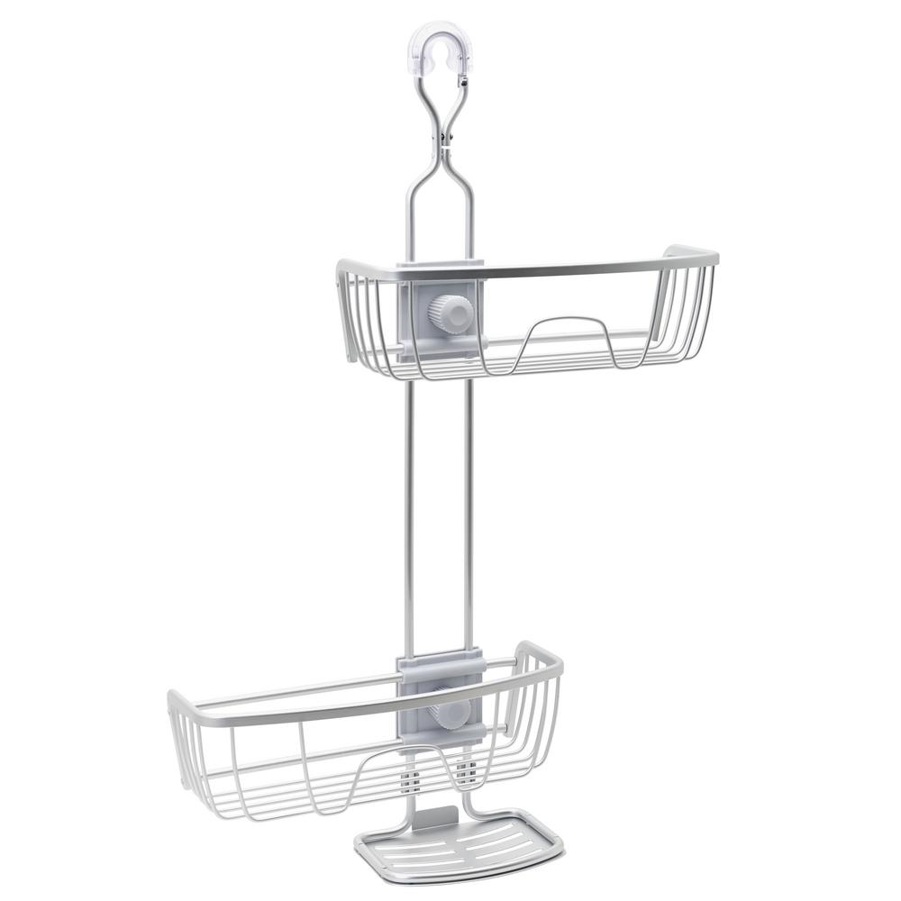 NeverRust Aluminum 4-Way Adjustable Shower Caddy in Satin Chrome