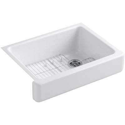 Whitehaven Undermount Farmhouse Apron Front Cast Iron 30 in. Single Basin Kitchen Sink Kit in White with Basin Racks
