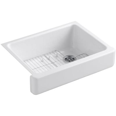 Whitehaven Farmhouse Apron Front Self-Trimming Cast Iron 30 in. Single Bowl Kitchen Sink in White with Basin Racks