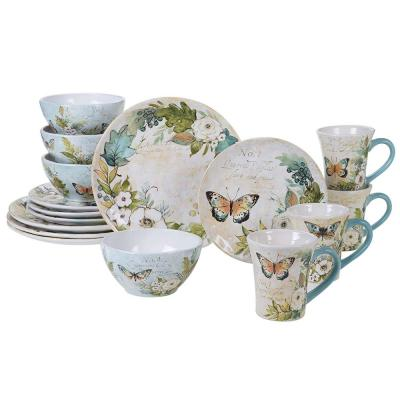 Nature Garden 16-Piece Multi-Colored Earthenware Dinnerware Set