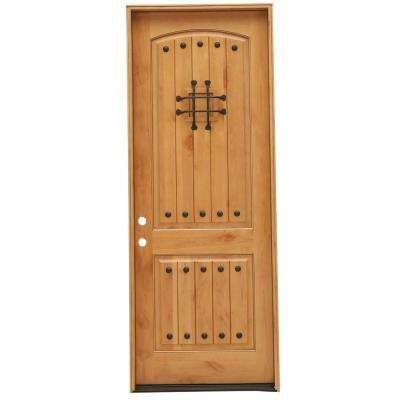 Rustic 2-Panel Stained Knotty Alder Wood Prehung Front Door with 8 ft. Height Series