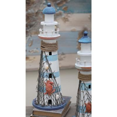 7 in. x 16 in. Coastal Living White Wooden Lighthouse