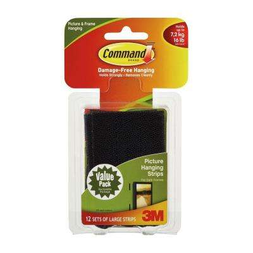Large Black Picture Hanging Adhesive Strips (Set of 12-Adhesive Strips)