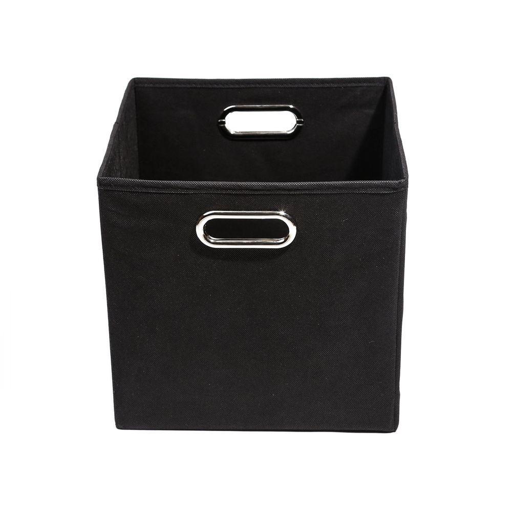 Smarty Pants 10.5 in. x 10.5 in. x 10.5 in. Folding Solid Black Fabric Storage Bin