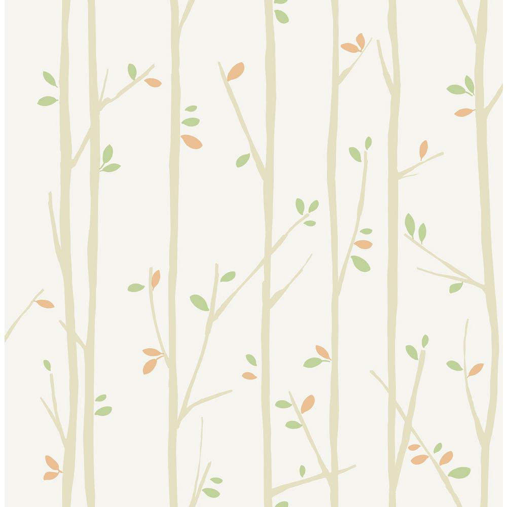 Kids Tree Top Tan, Moss and Pumpkin Wallpaper