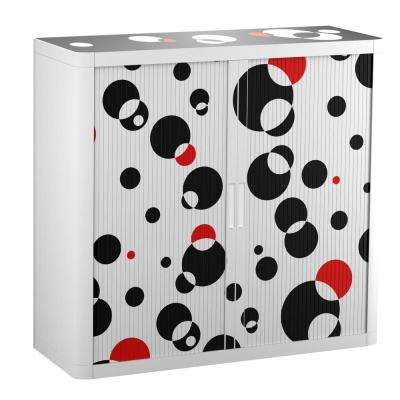 Paperflow easyOffice 41 in. Tall with 2-Shelves Storage Cabinet in Black and Red Bubbles