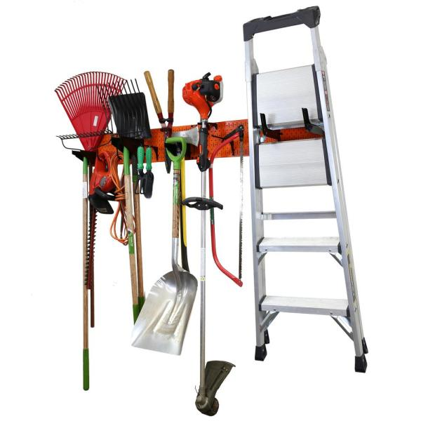 8 in. H x 64 in. W Garage Tool Storage Lawn and Garden Tool Organizer Rack with Orange Metal Pegboard and Black Hook Set