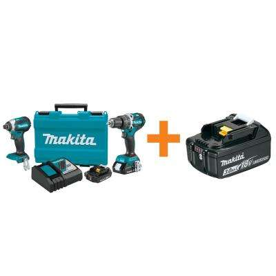 18-Volt LXT Lithium-Ion Cordless Compact Brushless 2-Piece Combo Kit/Bonus (2-Tool) with 3.0Ah Battery