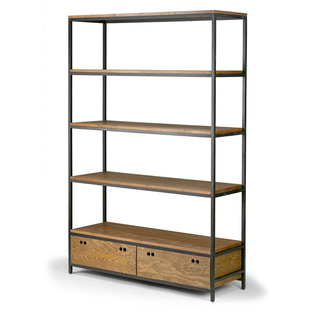 Glamour Home 70 75 In Brown Black Metal 5 Shelf Etagere Bookcase With Drawers Ghdsv 1251 The Home Depot