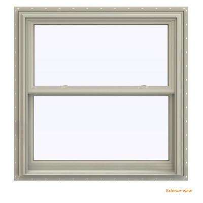 35.5 in. x 35.5 in. V-2500 Series Desert Sand Vinyl Double Hung Window with BetterVue Mesh Screen
