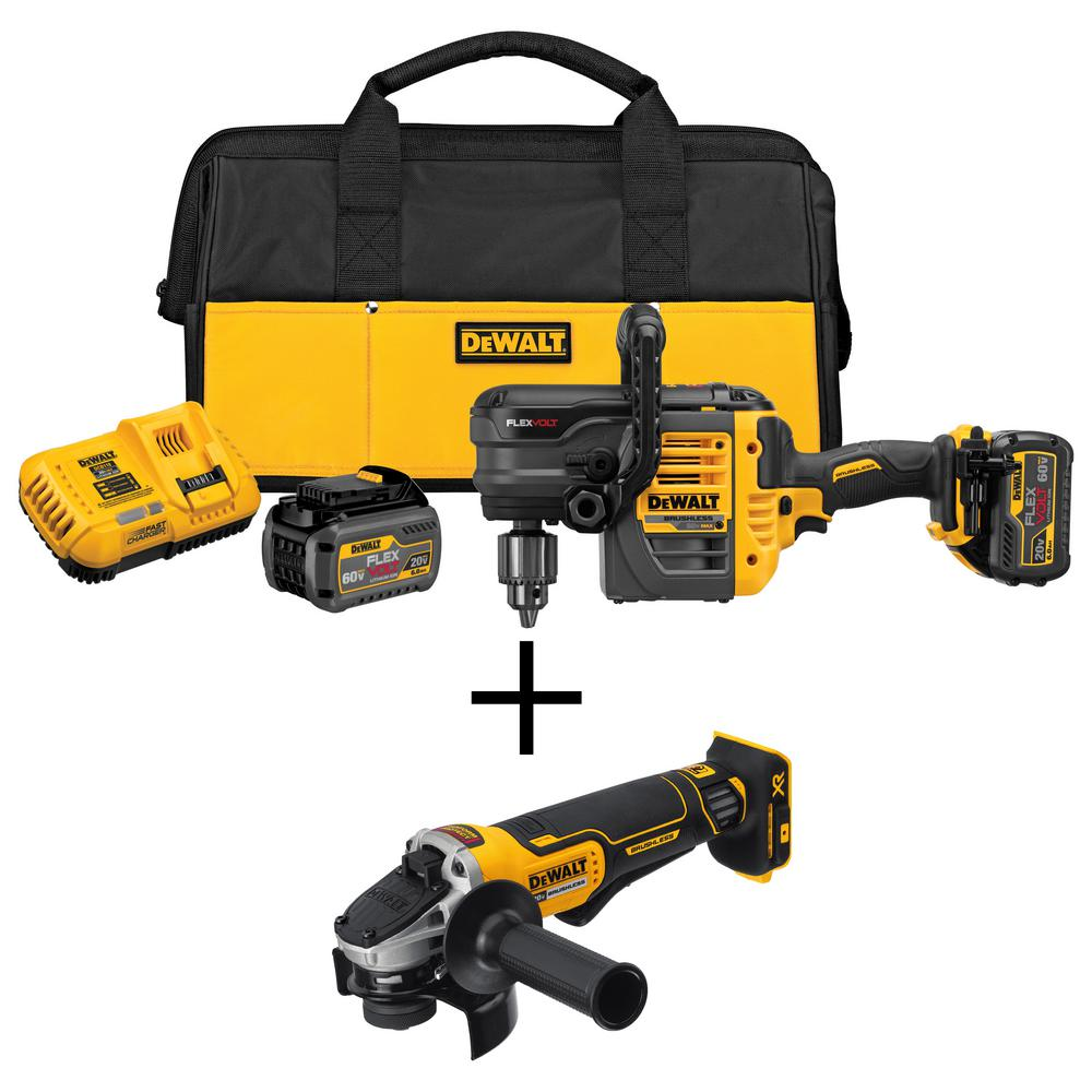 DEWALT FLEXVOLT 60-Volt MAX Lithium-Ion Cordless Brushless 1/2 in  Stud and  Joist Drill with Bonus Angle Grinder