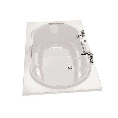 Antigua 72 in. Acrylic Center Drain Oval Drop-in Soaking Bathtub in White