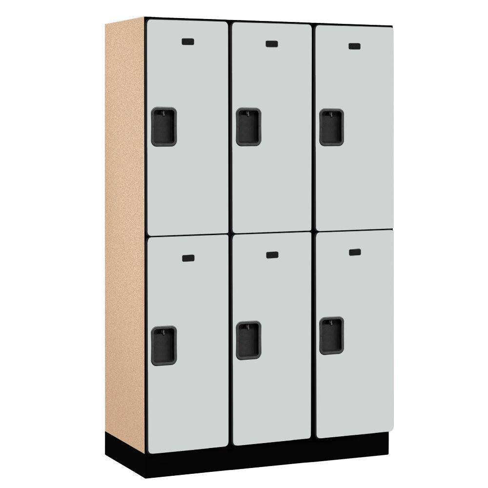 Salsbury Industries 22000 Series 2-Tier Wood Extra Wide Designer Locker in Gray - 15 in. W x 76 in. H x 18 in. D (Set of 3)