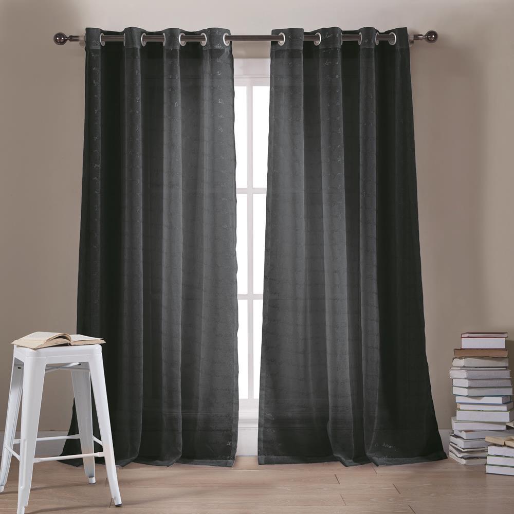 Minikini 54 in. W x 84 in. L Polyester Window Panel in Black